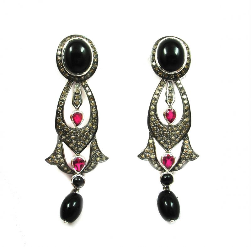 Buy 17.05 Ct Real Diamond Black Onyx Victorian Earring online