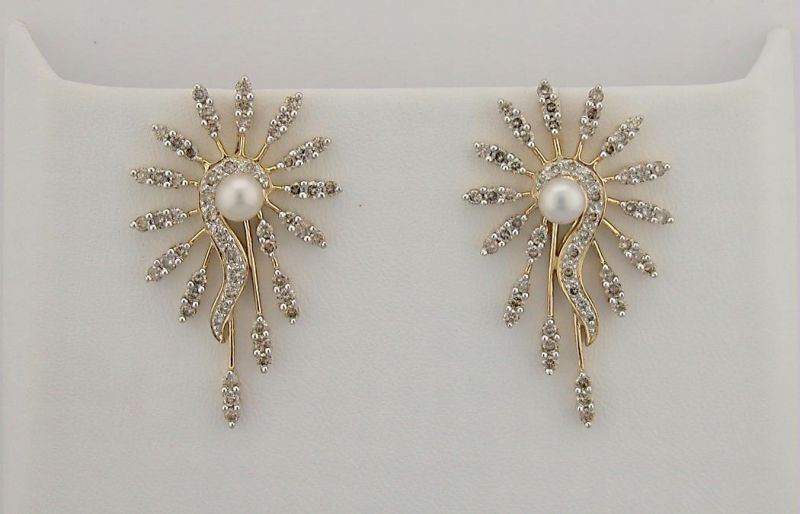 Buy 13.95 Ct Diamond Pearl Yellow Gold Earrings online