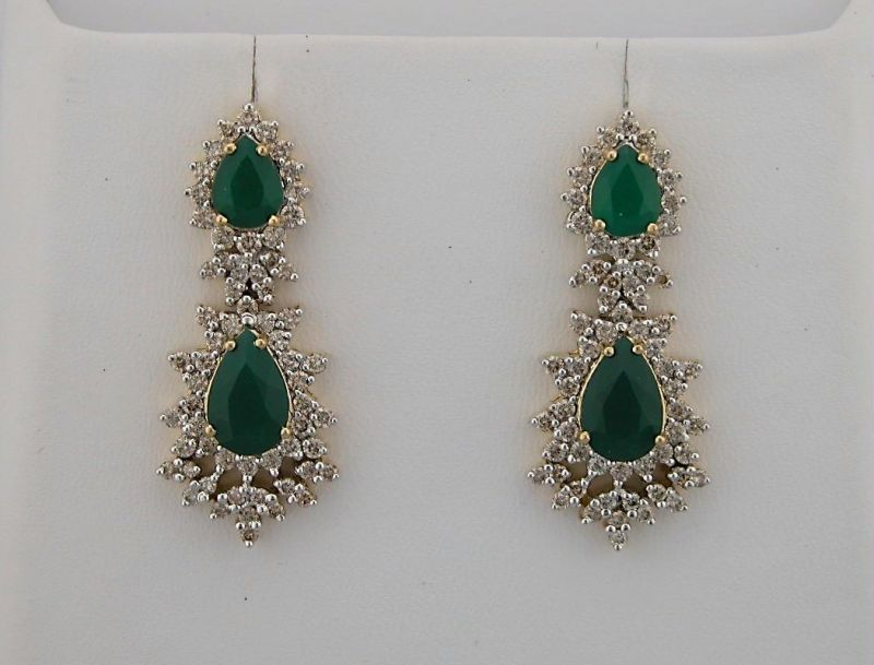 solid gold itm drop diamonds diamond emerald yellow and fashion earrings new uk