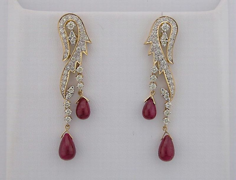 Diamond Ruby Yellow Gold Earrings Online