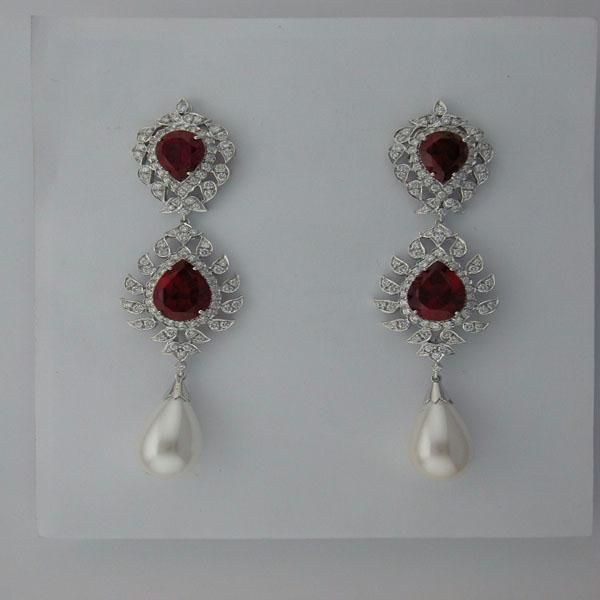 Diamond Ruby White Gold Earrings Online