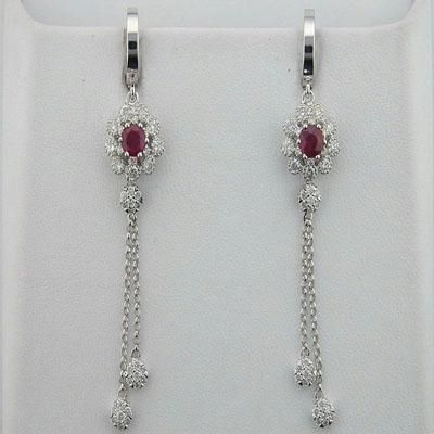 Buy Diamond Ruby White Gold Earrings online
