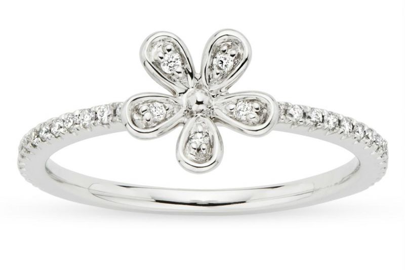 Buy Kiara WHITE GOLD PLATED FLOWER SHAPE RING online