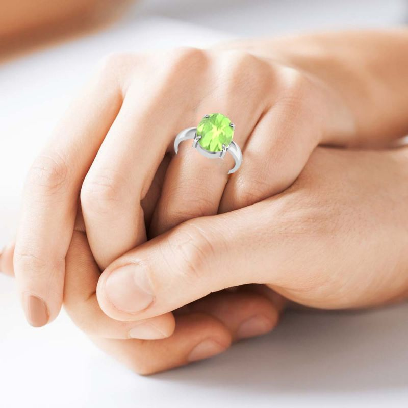 Buy Kiara Jewellery Certified Peridot 4.8 Cts Or 5.25 Ratti Peridot Ring online