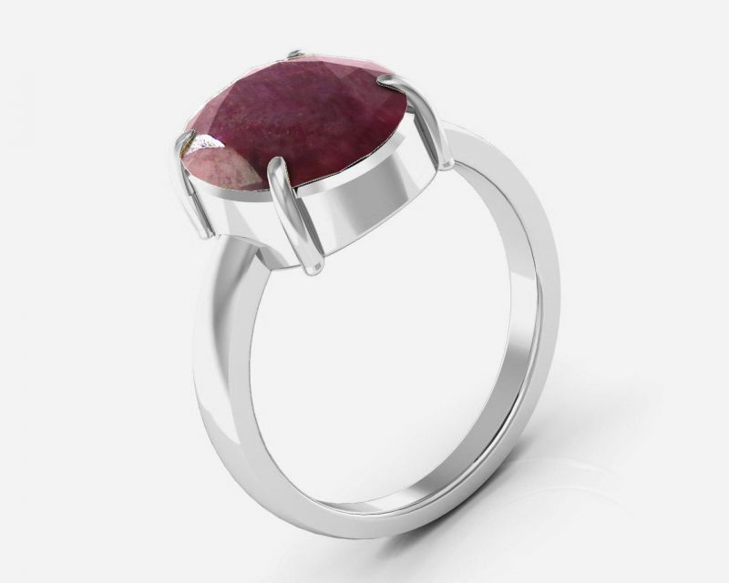 Buy Kiara Jewellery Certified Manek 7.5 cts or 8.25 ratti  Ruby Ring online