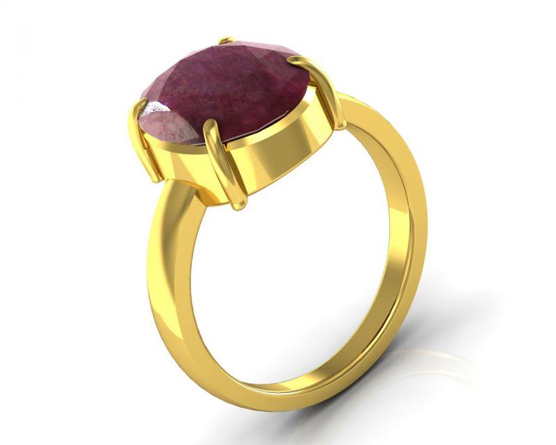 Buy Kiara Jewellery Certified Manek 8.3 Cts Or 9.25 Ratti Ruby Ring online