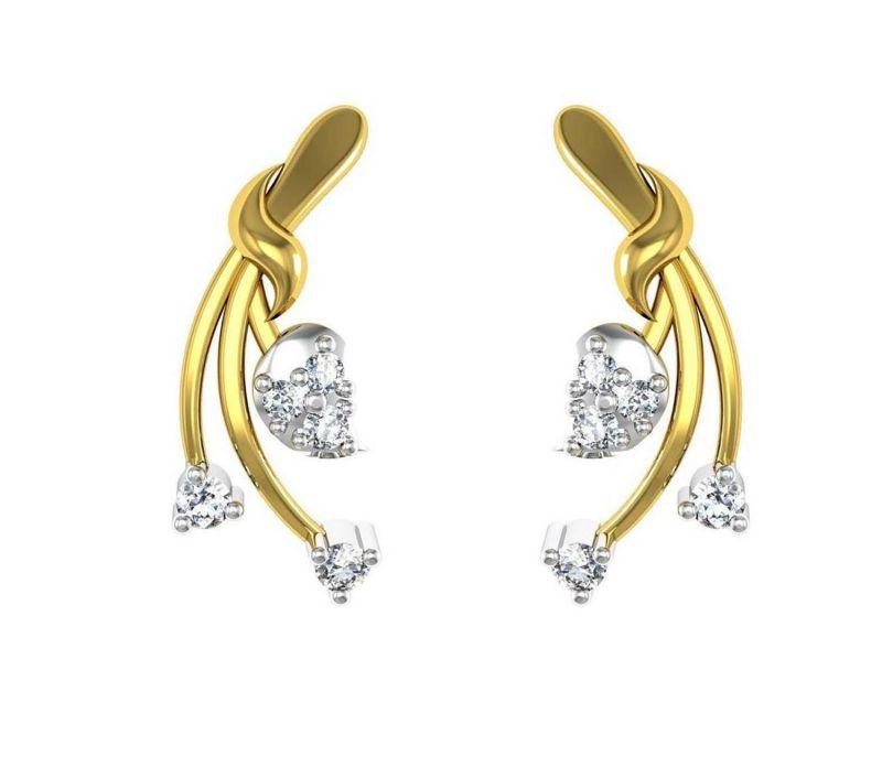 Buy Avsar Real Gold And Diamond Varsha Earring Tae020a online