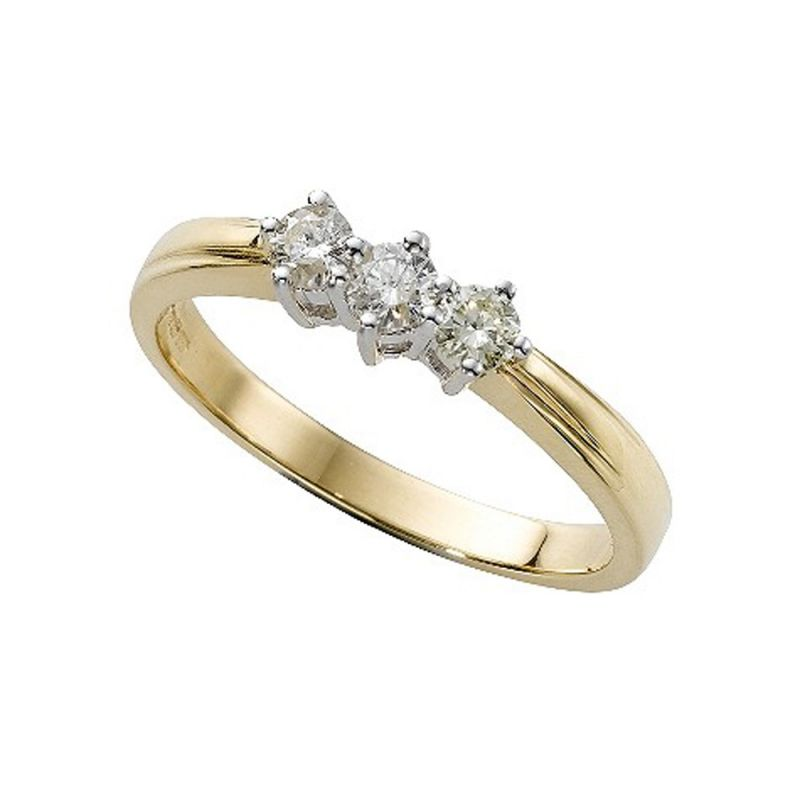 Buy Tarang Real Diamond Three Stone Ring online
