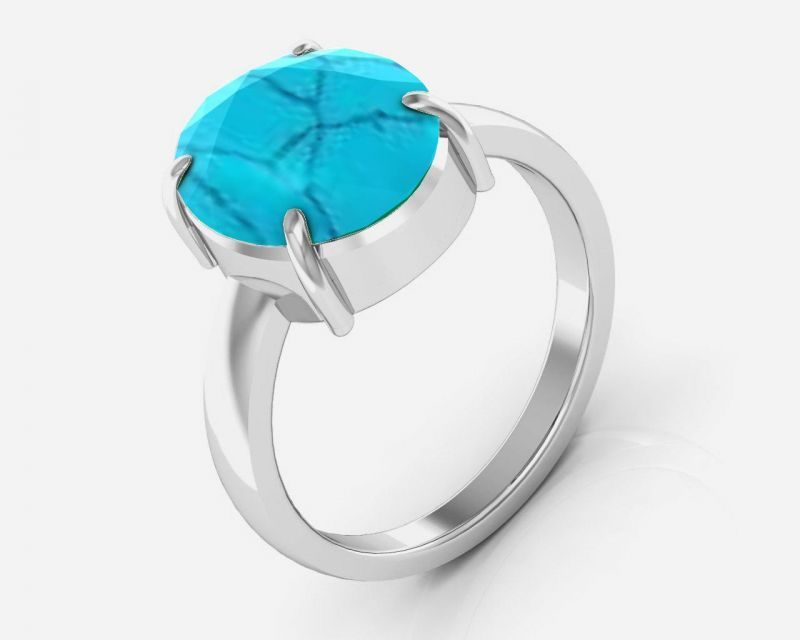 Buy Kiara Jewellery Certified Turquoise 9.3 cts or 10.25 ratti Turquoise Ring online