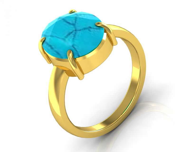 Buy Kiara Jewellery Certified Turquoise 3.9 cts or 4.25 ratti Turquoise Ring online