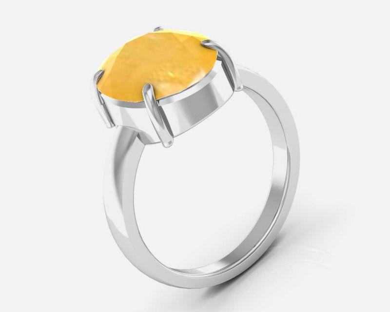 Buy Kiara Jewellery Certified Pukhraj 3.0 Cts Or 3.25 Ratti Yellow Sapphire Rin online