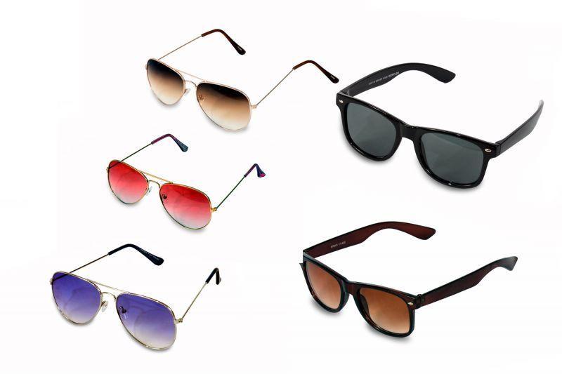 Buy Women And Men 3 Aviator Sunglass And 2 Wayfarer Sunglass Pack Of 5 Combo online