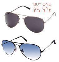 Buy Black Aviator Sunglasses And Blue Aviator Sunglasses - Buy 1 Get 1 Free online