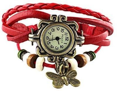 Buy Red New Retro Vintage Pendant Fashion Leather Bracelet Women Watch online