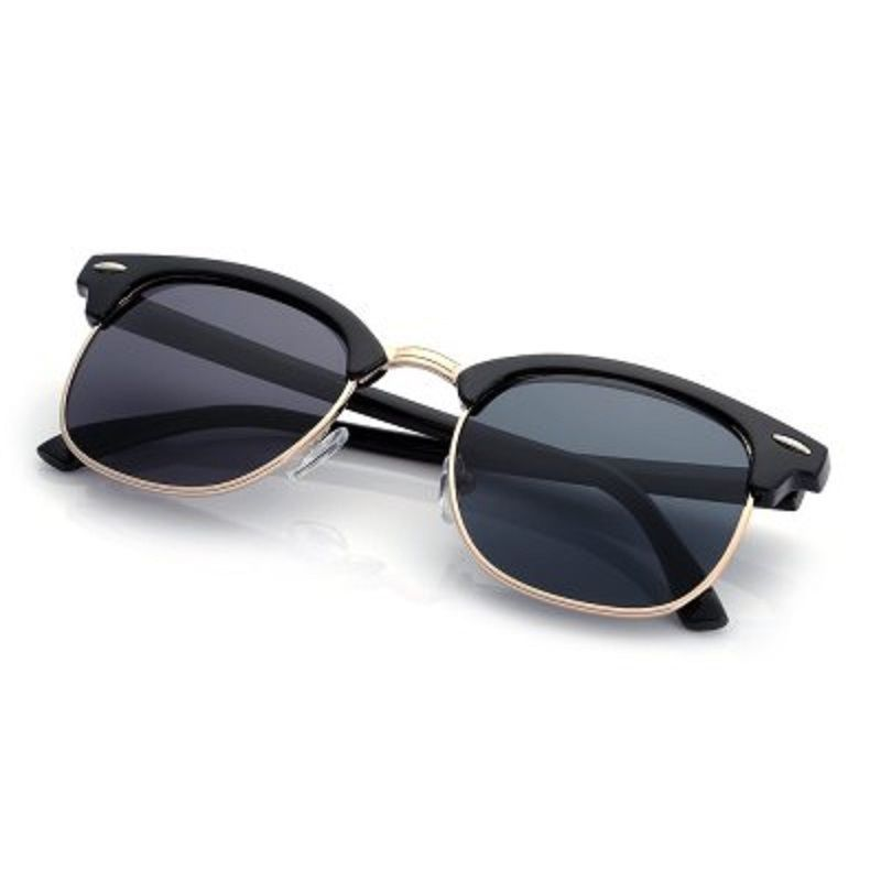 Buy Black Color Half Metal Flog Mirror Colored Coating Eye Wear Sunglasses For Men online