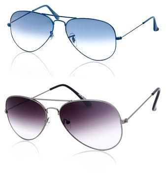 Buy Buy 1 Gradient Blue Aviator Sunglass & Get 1 Purple Aviator Sunglass Free online