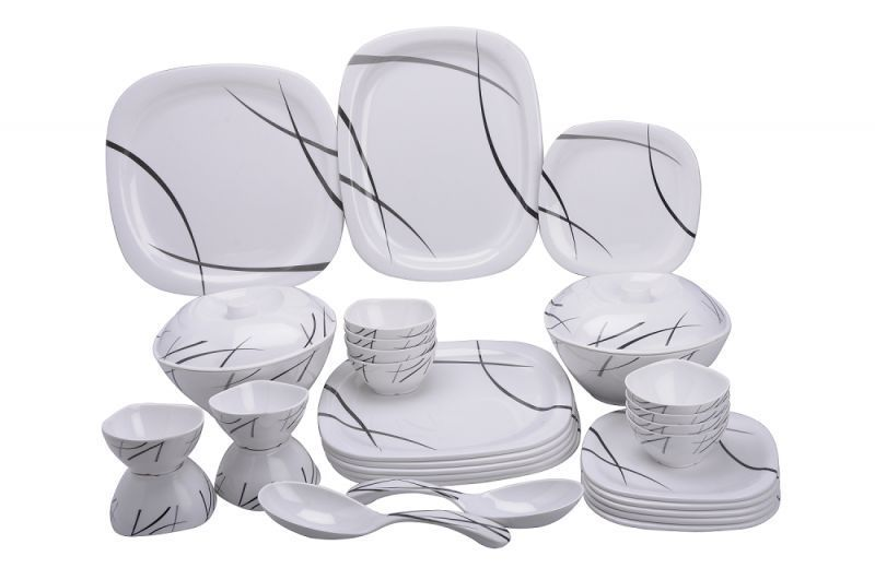 Buy Mehul Classic Square Dinner Set 31pcs Oil & Haldi Daag Resistant Melamine online