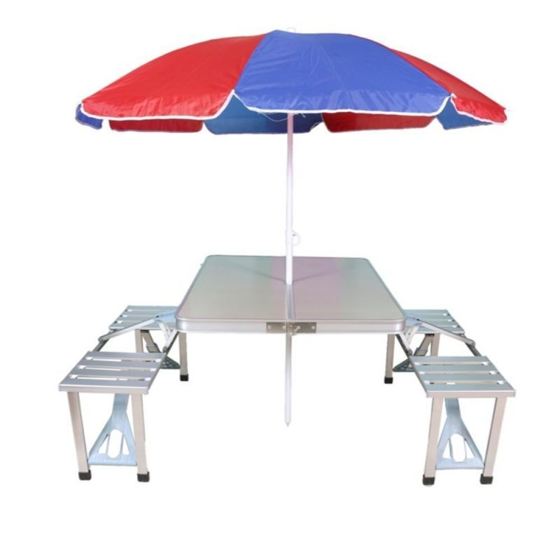 Buy Mart And New Heavy Duty Aluminium Portable Folding Picnic Table & Chairs Set With Multicolor Umbrella online