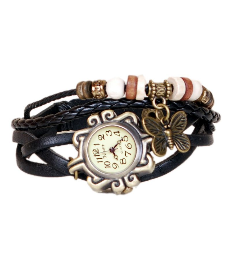 Buy Mf Leather Bracelet Vintage Butterfly Women Wrist Watch - Black online
