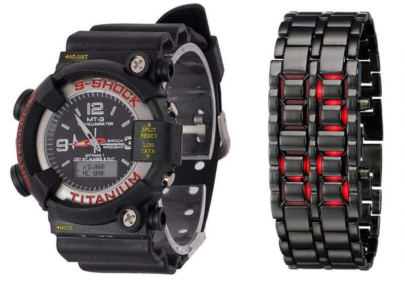 Buy Mtg Sports & LED Bracelet Watch Combo online