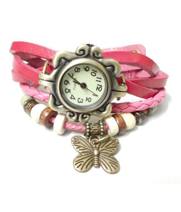 Buy Mf Vintage Pink Round Dial Women Watch online