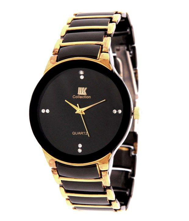Buy Iik Collection Black Gold Analog Watch online