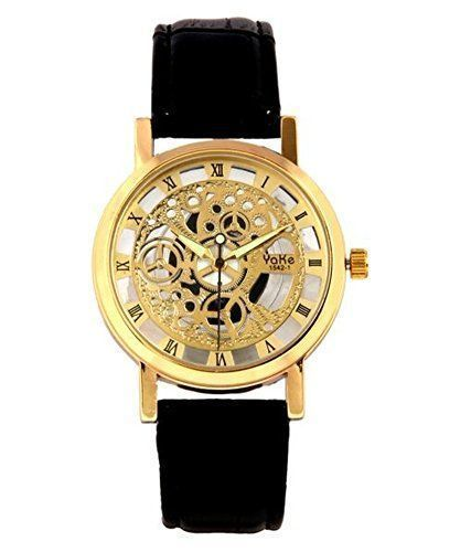 Buy Classic Automatic Transparent Golden Designer Wrist Watch For Men online