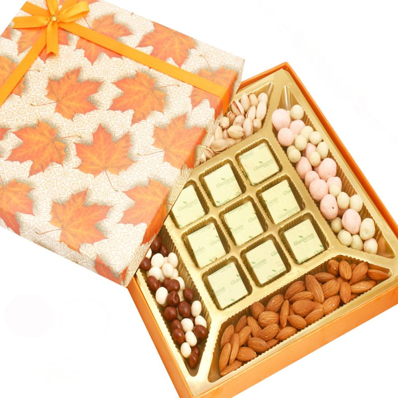 Buy Diwali Hampers - Ghasitaram Special Almonds, Pistachios, Nutties, Namkeen And 9 PCs Chocolate Box online