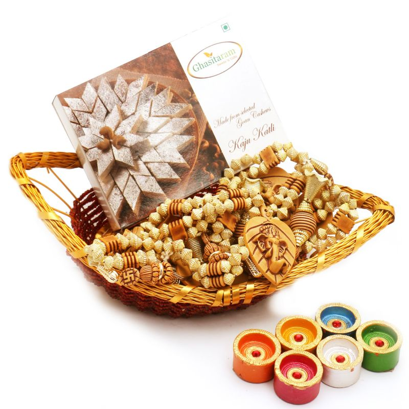 Buy Boat Basket With Kaju Katli, Toran And Diyas online