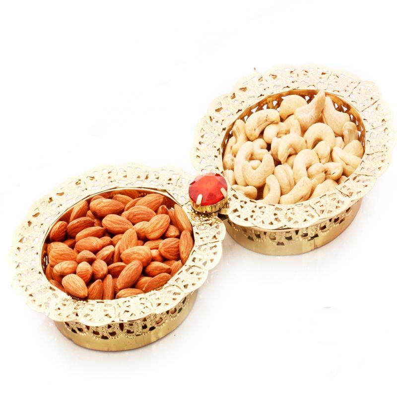 Buy Dryfruits -2 Bowl Golden Dryfruit Tray online
