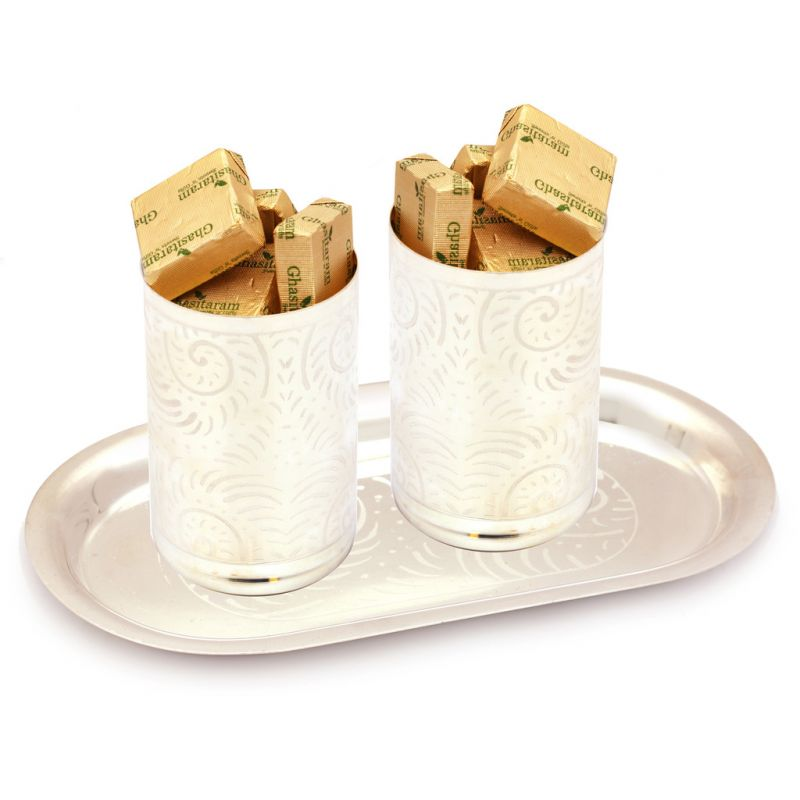 Buy Mothers Day Gifts- Silver Glasses Set With Sugarfree Chocolates online