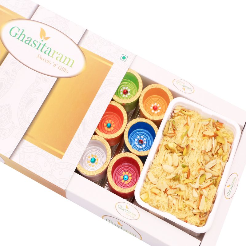 Buy Diwali Hampers - Soan Papdi And Set Of 6 Diyas online