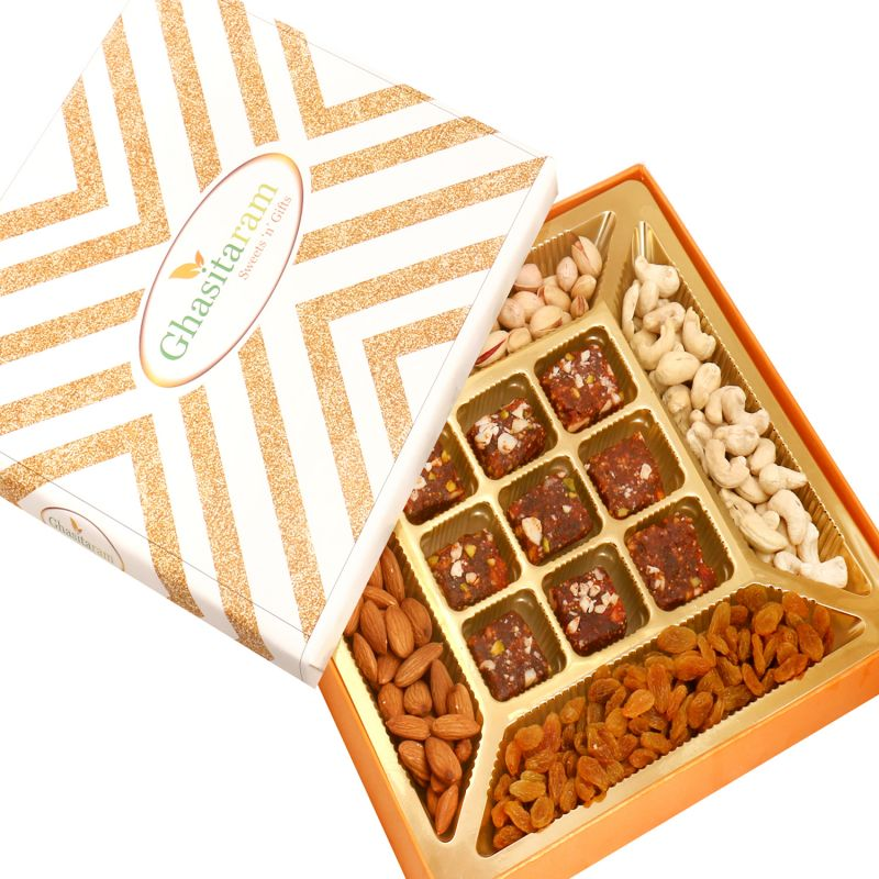 Buy Diwali Gifts Healthy Hampers - Ghasitaram Special Dryfruits And 9 PCs Sugarfree Figs And Dates Bites online