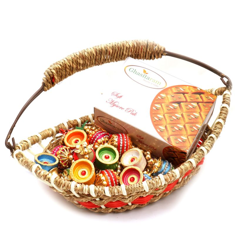 Buy Jute Cane Boat Basket With Mysore Pak, Toran And Diyas online