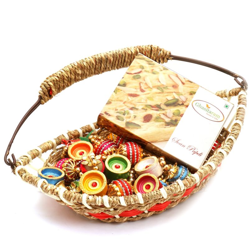 Buy Jute Cane Boat Basket With Soan Papdi, Toran And Diyas online