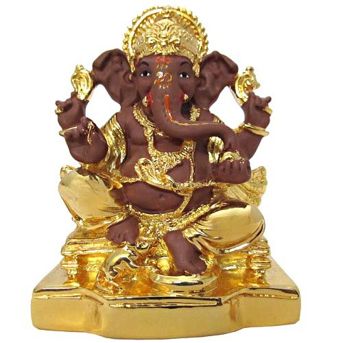 Buy Gifts Ganesha Gold Idols-lmgtk07 Brown Gold Terricota Ganesh online