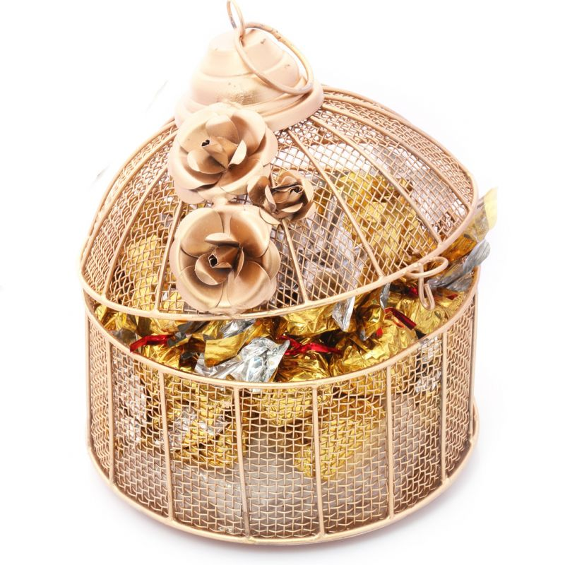 Buy Mothers Day Gifts- Golden Cage With Roasted Almond Sugarfree Chocolates online