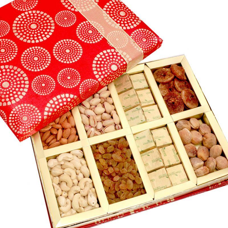 Buy Dryfruits-satin 8 Part Dryfruit And Chocolate Box Hamper online