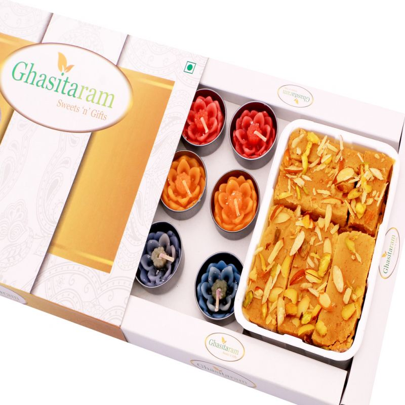 Buy Mithai Hampers - Soft Mysore Pak And Set Of 10 T-lites online
