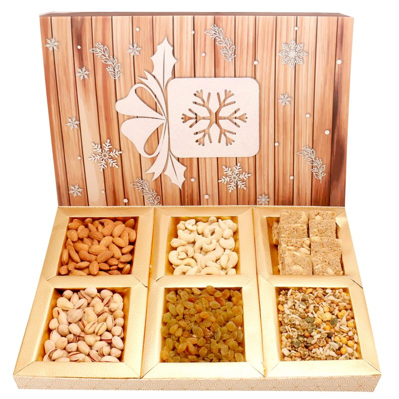 Buy Diwali Gifts Diwali Hampers Hands Of Joy Hamper Box With Almonds, Cashews, Pistachios, Raisins, Roasted Namkeen And Granula Bites 600 Gms online
