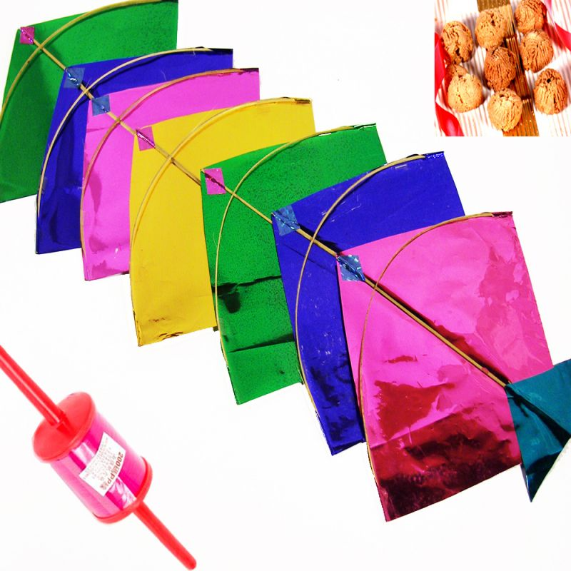 Buy Lohri Gifts - Set Of 20 Small Colourful Kites online