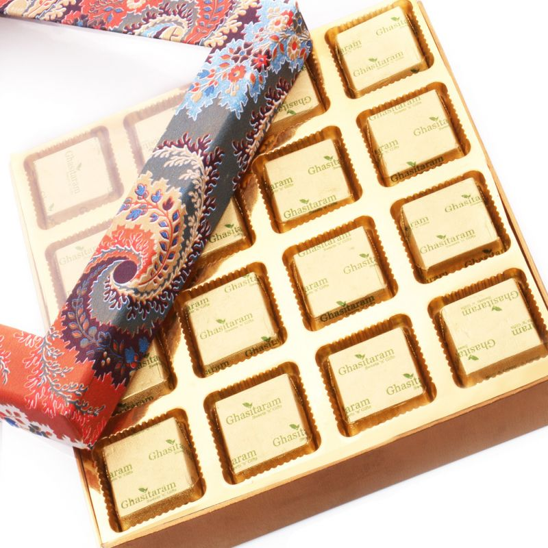 Buy Mothers Day Gifts- Blue Printed Assorted Sugarfree Chocolates Box online