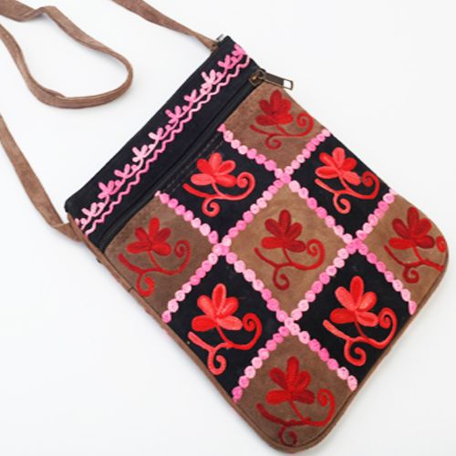 Buy Hand Bags-kashmiri Checks Leather Sling Bag Online | Best ...