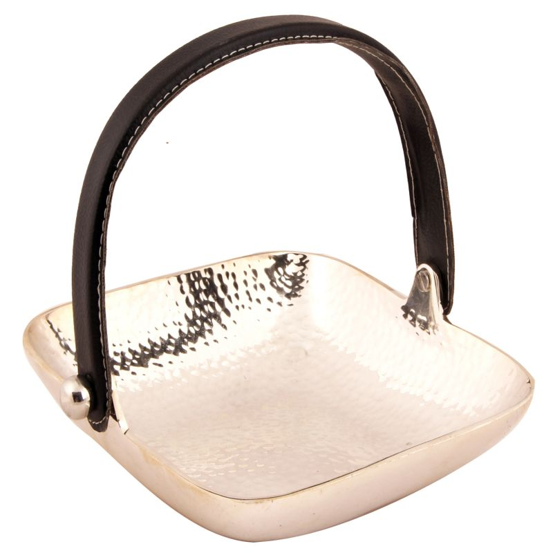 Buy Ghasitaram Gifts- Rakhi Gifts For Sisters- Silver Aluminum Square Tray Handle online