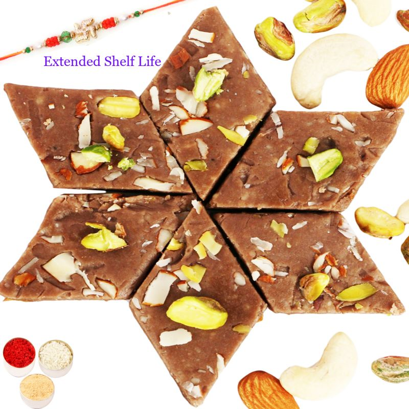 Buy Rakhi Gifts For Brother -ghasitarams Sweets Chocolate Kaju Katli 200 Gms With Rudraksh Rakhi online