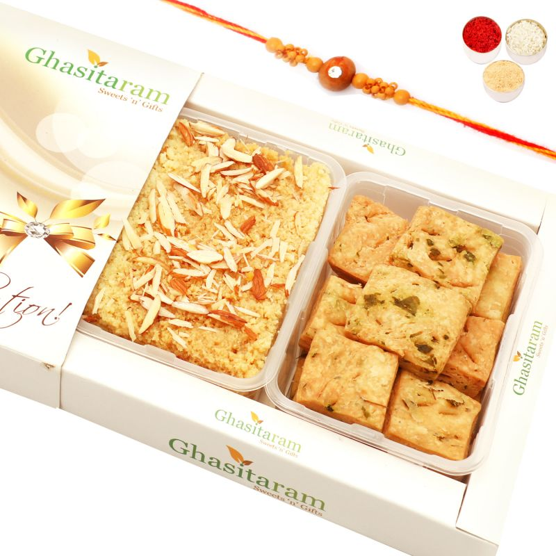 Buy Rakhi Gifts Sweets- Milk Cake And Methi Mathri Hamper With Rudraksh Rakhi online