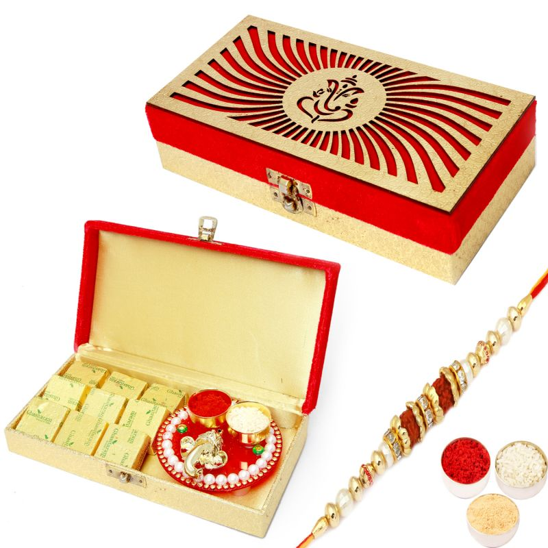 Buy Rakhi Gifts For Brother Rakhi Hampers- Ganesha Chcolates And Ganesha Mini Pooja Thali Box With Rudraksh Rakhi online