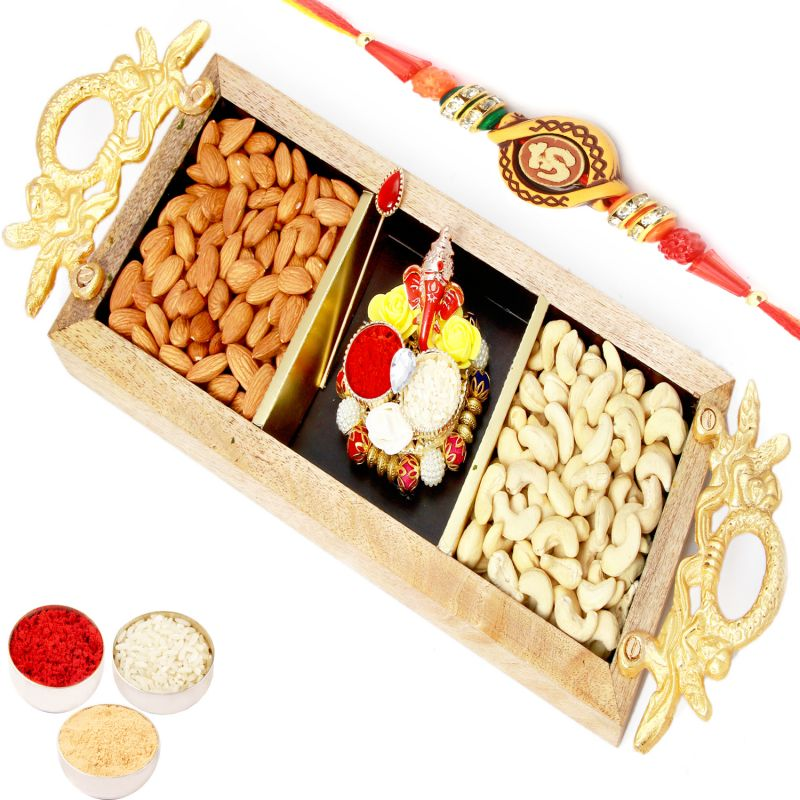 Buy Rakhi Gifts For Brother Rakhi Hampers- Golden Handle Wooden Almonds, Cashews With Mini Pooja Thali And Om Rakhi online