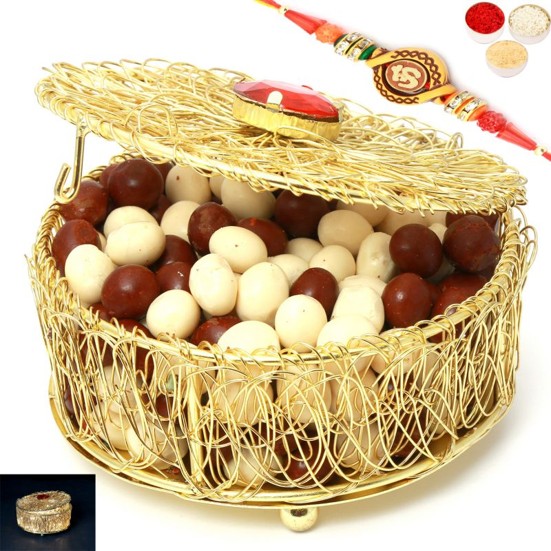 Buy Rakhi Chocolates-golden Mesh Nutties Box With Om Rakhi online