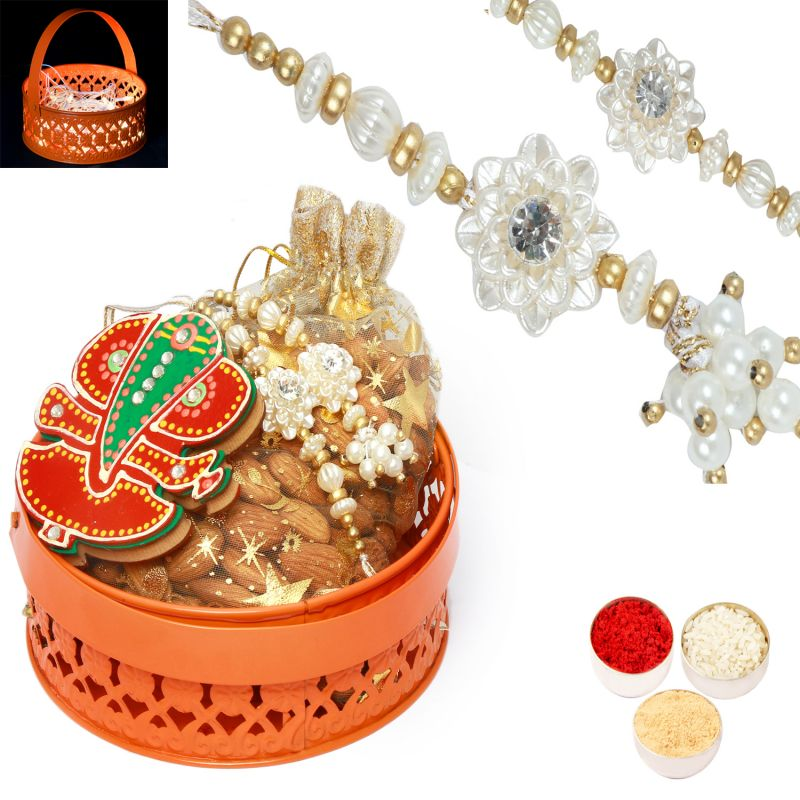 Buy Rakhi Gifts For Brother Rakhi Hampers-orange Metal Basket Hamper Of Almonds, Tikka Chawal Container And Bhaiya Bhabhi Rakhi. online